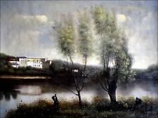 Camille Corot Ville D'avray Repro, Quality Hand Painted Oil Painting 30x40in