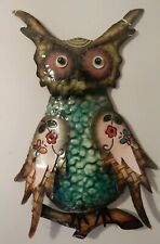 RUSTIC WALL HANGING METAL WISE OWL HAND PAINTED *NORMAL PRICE £16.99* SECONDS