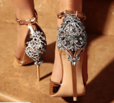 Womens Rhinestones Ankle Strap Open Toe Sandals Stilettos High Heel Shoes Party