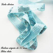 Ruban / Galon séquin paillette de 25 mm, vendu au mètre : Bleu clair