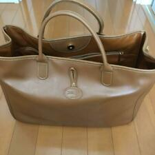 Rare Vintage Item Longchamp Ladies Leather Tote Bag Beige Shipping from Japan