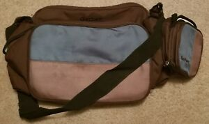 """Gerber 2 Piece Diaper Bag Set in Brown, Tan and Teal, Excellent Shape, 17""""x11"""""""