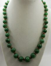 "Early Vintage Beautiful Natural Green Adventurine Bead Necklace 20"" Hand Knotted"