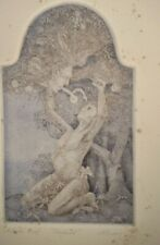 Surrealism fantasy etching pencil signed artist proof allerton