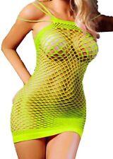 PLUS SIZE Fishnet Mini Dress #30 Neon Yellow Big Tall Sexy Srappy LINGERIE