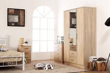 Sonoma Oak Bedroom Furniture Set - 3 Door Mirrored Wardrobe Chest Bedside