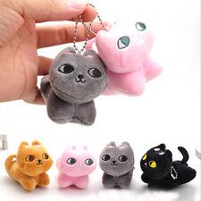 Cute Cat Soft Stuffed Plush Toy Keychain Keyring Fob Cushion Fine S&K