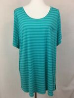 New Lane Bryant Women's Knit Tunic Top Plus Sz 22 24 Aqua Striped Shirt S/S