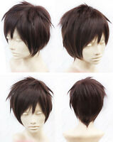Attack on Titan Brown Eren Jaeger Cosplay Wig Straight Synthetic Short Brown