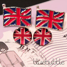 FUNKY BRITISH FLAG PATRIOTIC STUD EARRINGS CUTE RED BLUE WHITE VINTAGE PUNK EMO