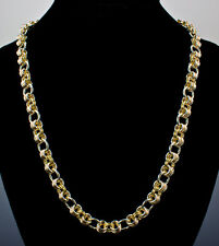 Tri-Color Chain Maille Necklace Argentium Silver and 14K Gold-Filled 22 Inch iDu
