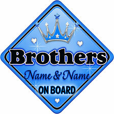 Personalised Baby On Board Car Sign Blue ~ Silver Brothers New! MYCR