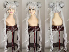 Sailor Moon March Hare Cos Wig New Long Silver Gray Cosplay Anime Curly Wigs