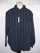 Haggar Mens Button Up Long Sleeve Stripe Dress Shirt XL Blue Stripe