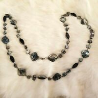 Paint Splatter Abalone Shell Link Silver Tone Textured Long Necklace 2075