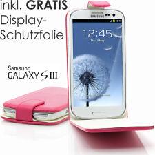 Samsung S3 Siii Galaxy i9300 Funda con Tapa Haandytasche Lámina Protector Fucsia