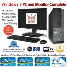 Windows 7 Pro HP/DELL PC Computer Intel Core i3 i5 16GB RAM 1TB HDD SSD Desktop