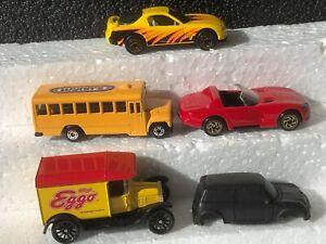 5 MATCHBOX CARS. MAZDA. VIPER.. SCHOOL BUS. MINI COOPER. MODEL T FORD + PAMPLET