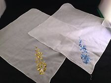 PAIR OF VINTAGE LADIES' WHITE HANKIES/HANDKERCHIEFS WITH EMBROIDERY BLUE OR GOLD