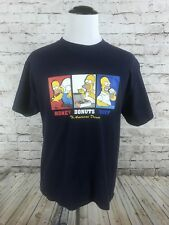 "VTG The Simpsons T-Shirt Size L Homer Simpson "" Money Donuts Duff"" Blue Delta"
