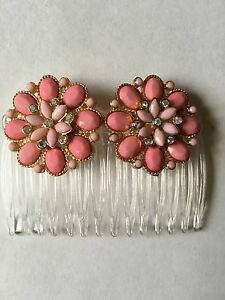Handmade PINK & IRIDESCENT CLEAR Stones FLOWER Shaped, JEWELED, CLEAR HAIR COMB