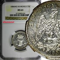 Mexico Silver 1886 Mo M 25 Centavos NGC MS63 Mint Luster Flashy KM# 406.7 (019)