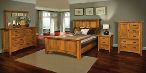 Amish 5-Pc Bedroom Set Modern Shaker Panel Bed Solid Wood Queen King
