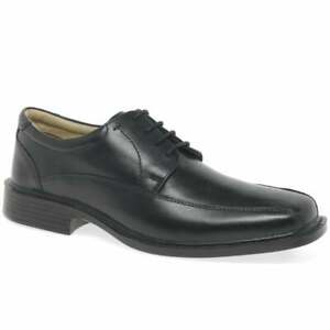 Mens Cushioned Real Leather Shoe Lace Up Shoe in Black by Easy Flex Size UK 9