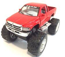 Dodge Ram 1500 V8 pickup Monster truck off Road 1:44 scale diecast RED PULL BACK