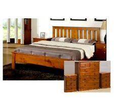 LEURA KING TIMBER BEDROOM SUITE BED FRAME 2 X BEDSIDE CHEST TALLBOY IN TEAK