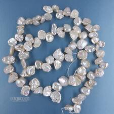"15.5"" White Peach Freshwater Keshi Pearl Beads Side Drilled ap. 7mm-9mm #17157"