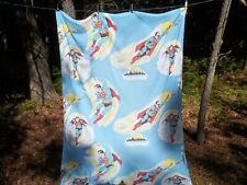 Vtg 1978 DC COMICS SUPERMAN Twin Size Flat Bed Sheet Fabric
