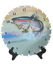 "Rainbow Trout fish 7 1/4"" REAL Saw Blade Clock hand crafted fisherman"