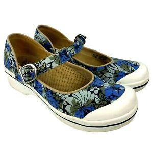 Dansko Valerie Womens Size EU 38 Mary Jane Flats Blue Floral Vegan Comfort