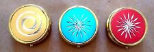 VINTAGE ROUND PILL BOX w/ ETCHED DESIGN * CHOOSE: PINK, BLUE, GREEN or GOLD