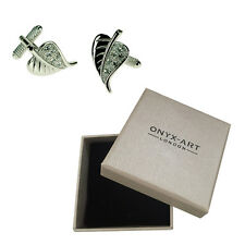 Mens Silver Leaf With Crystals Nature Cufflinks & Gift Box By Onyx Art