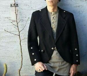 """43"""" Large Authentic Scottish ARGYLE Kilt JACKET Black Tunic Doublet Wool 190/110"""