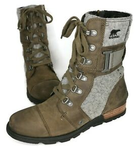 Sorel WOMEN'S Green & Gray Leather Major Carly Combat Boots Size 7 US