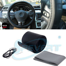 DIY 38cm Leather Car Auto Steering Wheel Cover with Needles & Thread Black Grey