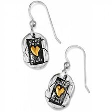 French Wire Earrings Msrp $32 Nwt Brighton Living Heart Silver Gold
