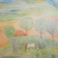 Fauvist landscape horse pencil painting signed