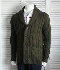 NEW Mens SZ XXXL 3XL ALPACA Olive Green Cable Knit Shawl Collar Sweater Cardigan