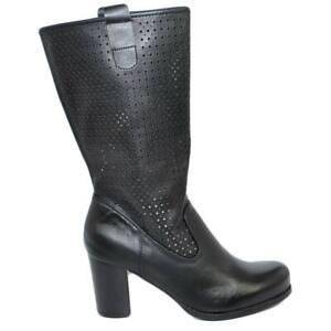 Stivali donna neri con plateau estivi gambale traforato altezza polpaccio con ta