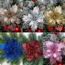 10X Christmas Large Poinsettia Glitter Flower Tree Hanging Party Xmas Decor UK