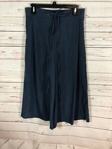 BCBG Generation Pants Womens Navy Blue Elastic $ Tie Up Waist Culottes Nwt $88