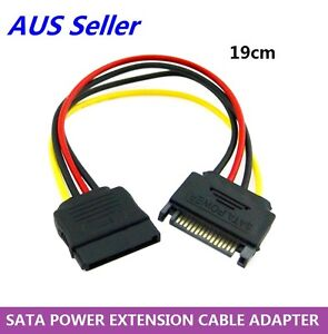 15Pin SATA Power Extension Cable Male to Female PC Case Tower Internal Cord 19cm