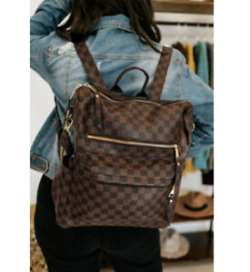 NEW Chic Brown Checkered Fashion Backpack
