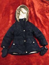 Jasper Conran Debenhams Girls Navy Blue Fleece Hooded Coat Jacket Age 2-3 Years