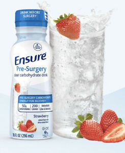 Ensure Pre-Surgery 10 oz, Clear Carbohydrate Drink, Strawberry, 2 Count Exp 8/21