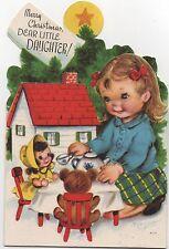 VTG Christmas Greeting Card Pretty Dress Girl Dolls Dollhouse Marjorie Cooper